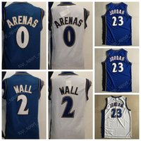 Basketball blue arena - 2017 Basketball Throwback Jerseys Gilbert Arenas John Wall Vinatge Uniforms Navy Blue White All Stitching Top Quality On Sale