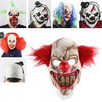маска для зубов оптовых-Страшный клоун Маска зеленые волосы бак зубы анфас ужас Маскарад взрослый призрак Маска Хэллоуин Пасха реквизит необычные костюмы HH7-100