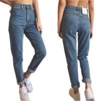 Wholesale Paints Female Jeans - Wholesale- New fashion european American star style blue color cotton high waist vintage denim pants  jeans female