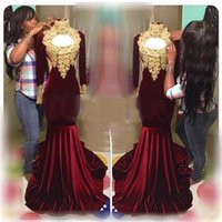 Wholesale Sexy Back Out Lace Gown - Burgundy Velvet High Neck Sexy Long Sleeves Gold Appliqued Prom Dresses Sexy Hollow Out Mermaid Evening Gowns African Vestidos BA6551