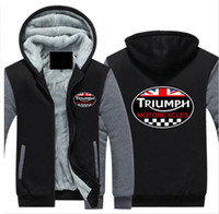 Wholesale Motorcycle Triumph - 2018 Hoodie New Fashion Winter GREAT BRITAIN TRIUMPH MOTORCYCLE Thicken Fleece Zip up Hoodies men Casual Tops USA EU size Plus size