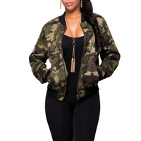 Wholesale Camo Collars - Women Camo Jackets Fashion Coat Army Green Women's Bomber Jacket Coat Female Summer Overcoat Tops Air Foce 1 Casual Coat