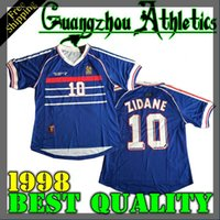 Wholesale Rugby Homes - 1998 France World Cup Home Jersey best quality shirt Free shipping Zidane Henry Jerseys