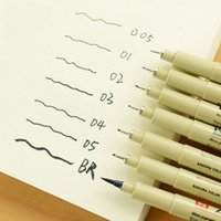 Wholesale Sakura Pigma - Wholesale-9 pcs Lot Sakura Pigma Micron Neelde Soft Brush Drawing Pen 005 01 02 03 04 05 08 1.0 Brush Painting Art Cartoon Stationery 1616