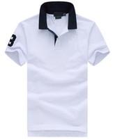 comprar polo blanco al por mayor-Hot Buy Fashion Solid Casual camisa POLO hombres Big Horse bordado de solapa de algodón PRL Polos 2017 Número 3 Azul Blanco