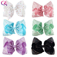 Wholesale Diamond Big - 8 Inch Big Diamond Hair Bow With Clip Colorful Rhinestone Hair Bow For Girl JOJO BOW
