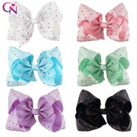 black hair blue - 8 Inch Big Diamond Hair Bow With Clip Colorful Rhinestone Hair Bow For Girl JOJO BOW