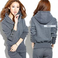 Wholesale Hooded Add Wool - Qiu dong outfit more new add wool fleece ladies leisure two-piece show thin cotton clothes suit female big yards With thick fleece suit