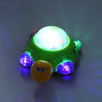 Wholesale Music Light Turtle Wholesale - Wholesale- 2016 Kids Toys Children Electric 3D Turtle Musical Toy Projection Luminous Dynamic Music Crawling Electric Turtle Toy Xmas Gifts