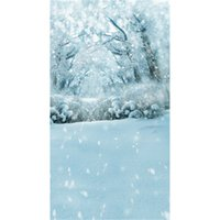 Wholesale White Vinyl Backdrops - Winter Snow Covered Trees Outdoor Scenic Photography Backdrops Vinyl Snowflakes White Floor Holiday Forest Photo Shoot Background for Studio