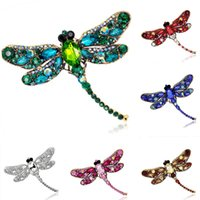 Wholesale Vintage Full Rhinestone Dragonfly Brooches Pins Multicolors Crystal Animal Costume Pin Breastpin Party Dress Jewelry Birthday Gift