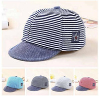 Wholesale Baby Baseball Hat Beret - Baseball Cap Baby Hats Summer Cotton Casual Baby Striped Eaves Boy Beret Baby Girls Sun Hat 4 Colors Free Shipping Boys Girls Gift