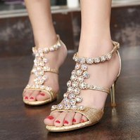 Wholesale T Strap Gold Glitter Heels - Glitter gold crystal gem summer sandals sexy women high heels shoes prom gown party wedding size 34 to 39