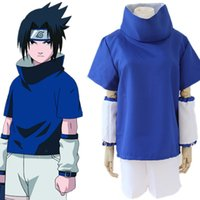 Wholesale Halloween Costumes Young - Uchiha Sasuke cosplay costumes Uchiha Sasuke young clothing Japanese anime Naruto clothing halloween costume Masquerade costume blue