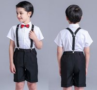 Wholesale White Shirt Black Tie Wedding - Shirt Suspenders Wedding Suits Bow Tie Todder Boys Gentleman Prettyboy Plaid Boys Clothing Set Children Outfits