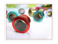 Atacado 100 Pieces Tin Box Metal Round Colorful Small Wedding Candy Sweet Cans Container Chá Tampa Limpa EMS Frete Grátis