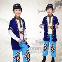 Wholesale Dai Dance - Child Tibetan Dance Costume Chinese Ethnic Folk Dancing Clothing Male Mongolia Dance Costume Stage Dai Dancer Wear 89