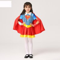Wholesale Sashes Rings - Supergirl Kids Halloween Costume Girls Sets Dresses Cap Belt and Hand Ring 4 Pieces Children Clothing
