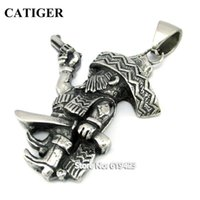 Wholesale western pendants for necklaces buy cheap western mexican western pendants for necklaces popular robber pendant with knife and gun l stainless steel aloadofball Choice Image