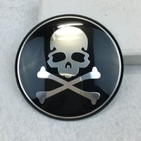 tampas de plástico venda por atacado-4 PCS Car Styling 65 MM Cabeça De Crânio De Alumínio Centro de Roda Hub Cap Emblema Decalque Esqueleto Roda Adesivos Universal Fit