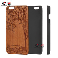 Wholesale Life Cell Phone Cover - Life tree wood cell phone Apple hard cases for iPhone 6 7 8 6s i6 plus x luxury laser engrave mobile back cover