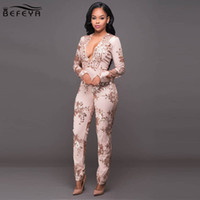 Wholesale Ladies Plus Size Overalls - Wholesale- 2017 New Style Women Sexy Sequined Jumpsuit Lady Fashion Long Sleeve Mesh Sequins Romper One Pieces Bodysuit Overalls Plus Size