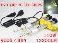 Wholesale H7 55w Halogen Bulb White - 2017 NEW 1 Set 9006 HB4 P70 Cre 13200LM 110W LED Headlight Slim Auto CAR Kit 55W XHP-70 Driving Fog Lamp Bulb H7 H4 H8 H11 Repl HID Halogen