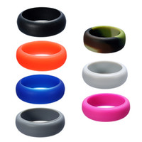 Wholesale Rings Size 11 Men - 7 Colored Silicone Finger Rings Round Circle Simple Mid Rings Women Man Punk Jewelry Size 7 8 9 10 11 12 8mm Silicone Rings Gift