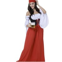 Wholesale Christmas Plus Size Outfits - Gretchen Oktoberfest Costumes Red Ladies Club Beer Festival Bavarian Women Halloween German Beer Fest Outfits Plus Size PM231