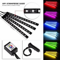 Wholesale Led Strip Car Lamp - 7 Color Music Control Car RGB LED Strip Light Auto Atmosphere Lamp Kit Error Free with IR Remote