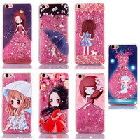 Wholesale Iphone Case Cartoon Girl - Cartoon Quicksand Case For iPhone 7 6S Plus SE 3D Liquid Floating Glitter Lovely Girl Case Running Quicksand Liquid Dynamic Case