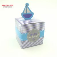 Vente en gros - 2016 Hot sale 50 PCS Baby on Boat Stripes Design Favor Box Boite de mariage Candy Box Baby Shower Favors Box, boîte à chocolat, Livraison gratuite