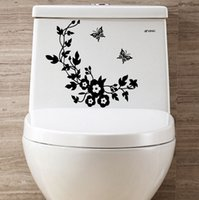 Wholesale Butterfly Plant Decorations - Carved butterfly flower vine toilet paste stickers multicolor living room decoration living home decoration decorative stickers