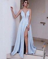 Wholesale Deep Slit Neckline - Sexy V Neckline A Line Satin High Slit Prom Dresses 2017 Blue Party Prom Dresses Evening