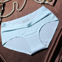 Wholesale One Piece Panties - Low waist one piece women's ice silk sexy seamless underwear comfortable soft women's panties breathable underpants