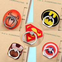 Wholesale batman mobile resale online - Universal Degree Super Hero Superman Batman Finger Ring Holder Phone Stand For iPhone s Samsung Mobile Phones With Retail Box