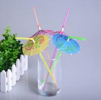 ingrosso paglie ombrello-Paglia monouso con ombrellone per cocktail Parasoli Cannucce per bere Festa nuziale Forniture per bar KTV Vacanze Vendita calda