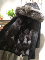 Wholesale Jacket Lining For Sale - Silver fox fur collar Mr & Mrs Itlay black grey white fox Fur lining black long parka MMF SILVER FOX FUR lining jackets for sale