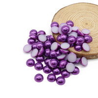 Wholesale Arts Crafts For Beads - Flatback ABS Imitation Round Half Pearl Beads Dark purple Color For Craft, Scrapbook, Phone Case and Nail Art Deco