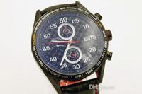 Wholesale Luxury Button Belt - Hot Sale Auto wristwatch Men Black Dial Black Case Mclaren Precision Leather Belt Calibre 16 watch Original button Free shipping