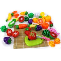 Wholesale Kitchens Toys - 24Pcs Set Plastic Play Toy Fruit and Vegetables Cutting Kids Pretend Play Educational Toys Cooking Kitchen Toys for Girls VE0126