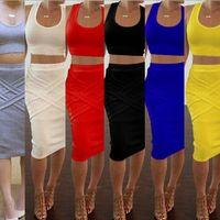 zarif seksi kıyafetler toptan satış-2017 Bahar Rahat Giyim 2 Parça Setleri kadın Ince Midi Bodycon Tunik Seksi Kulübü Kıyafet Parti Zarif Bandaj Elbiseler