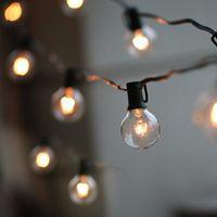 cadena de luz vintage al por mayor-Luces de la secuencia del globo de la bombilla 50Ft G40 con las bombillas claras Luces del patio del patio trasero, bombillas del vintage, boda al aire libre decorativa de la guirnalda