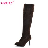 Wholesale Size 47 Ladies Shoes - Wholesale-Size 34-47 Women High Heel Over Knee Boots Ladies Riding Fashion Long Snow Boot Warm Winter Botas Heels Footwear Shoes P1318