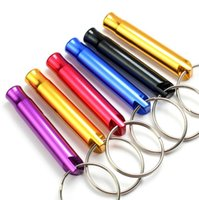 Wholesale car whistle - Wholesale Mini Aluminum Alloy Whistle Keyring Keychain For Outdoor Emergency Survival Safety Sport Camping Hunting Random Color