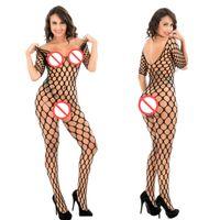 açık kasık iç çamaşırı seks toptan satış-Kadın Erotik Kostümler Bayan Seks Lingerie Açık Crotch Vücut Çorap Lingere Seksi Fishnet Bodystocking Seksi Şeffaf Kadın