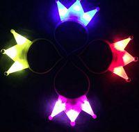 décorations pour enfants achat en gros de-1 95cr Glowing Couronne Cheveux Bandes LED Luminescence Bandeau Creative Flash Coiffure Pour Enfants Party Décoration Concert Props R