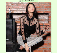 Wholesale Shirt Chiffon Retro Dot - Plus Size XXL Woman Clothes Fashion Long Sleeve Retro Mesh transparent Chiffon Polka Dot Shirt Blouse Black