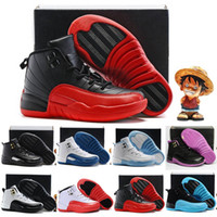 Wholesale Girls Shoes Kid S - Boys Girls Air Retro 12 Basketball Shoes Kids Childrens 12s Gym Red 12's Wolf Grey French Blue Sports Shoes Toddlers Birthday Gift
