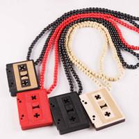 pingente de hip hop colar de goodwood venda por atacado-2017 nova Hot Cassette Tape Pingente Colar GoodWood Hip-Hop De Moda De Madeira Colar De Pingente de Atacado frete grátis